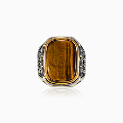 Massive rectangle tiger eye man Rings Palmyra