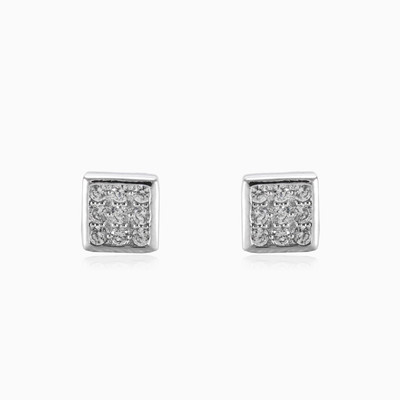 Square button earrings unisex earrings Shine bright