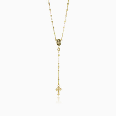 Gold rosary unisex necklaces
