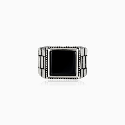 Rigid square onyx ring unisex Rings oyster strap