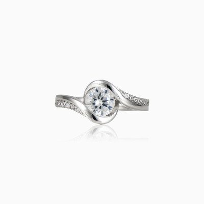 Vintage semi bezel ring woman engagement rings