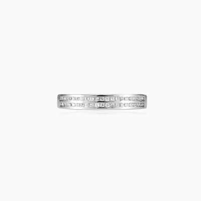 Two lines silver band woman wedding rings