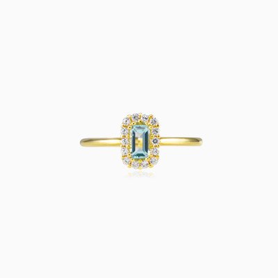 Rectangle topaz halo ring woman engagement rings