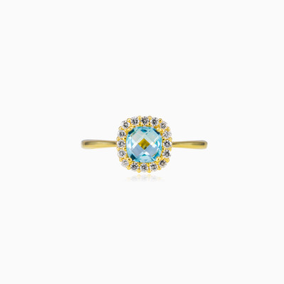 Cushion topaz gold ring woman engagement rings