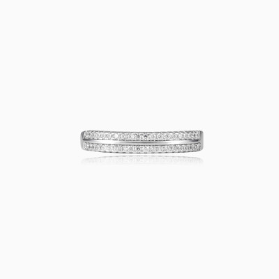 Classic two lines band ring woman wedding rings