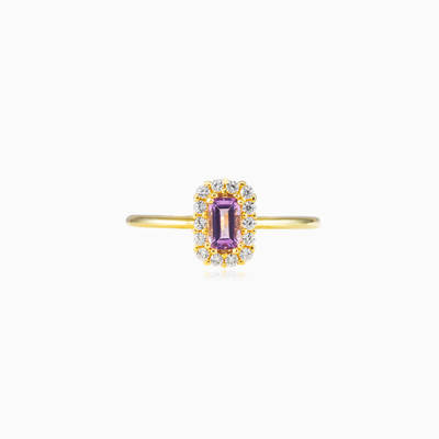 Rectangle amethyst halo ring woman engagement rings