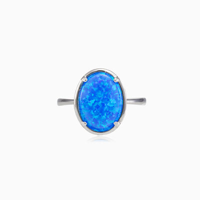 Wide prong oval blue opal ring woman Rings