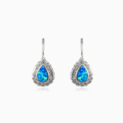 Bezel blue opal pear lever earrings Женские Серьги Halo