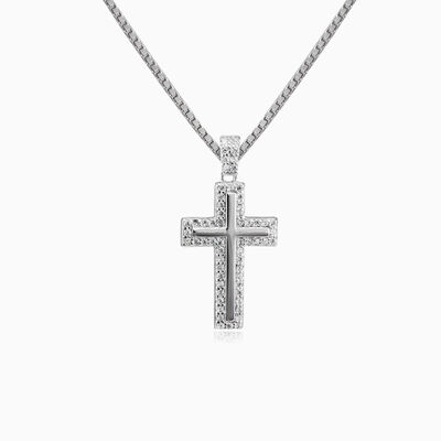 Crystal and silver cross unisex pendants Santa Croce