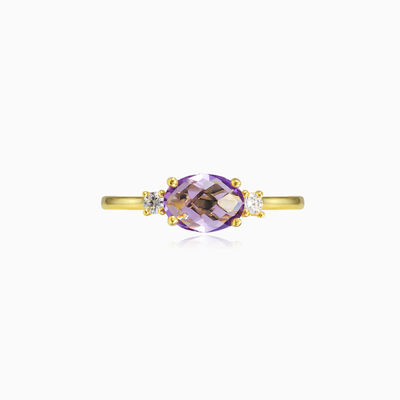 Oval briolette amethyst gold ring woman engagement rings
