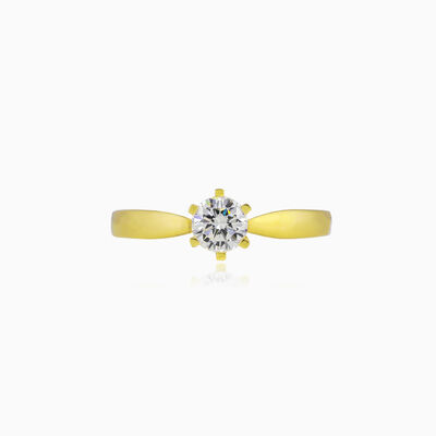 Thin six-prong solitaire gold ring woman engagement rings