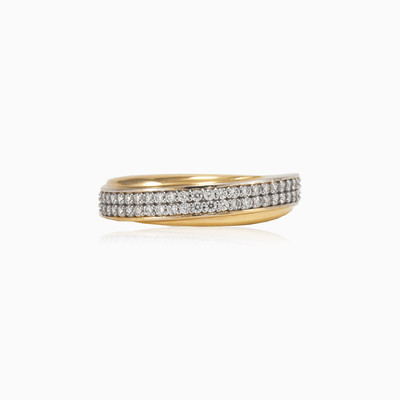 Double row band ring woman wedding rings